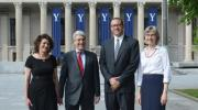 From left, Tamar Gendler, dean of the Faculty of Arts and Sciences; President Peter Salovey; Jonathan Holloway, dean of Yale College; and Lynn Cooley, dean of the Graduate School of Arts and Sciences. (Photo by Michael Marsland)