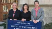 The expanded Department of Computer Science will be part of the Yale School of Engineering and Applied Sciences (SEAS). Pictured are (from left) Joan Feigenbaum, department chair; Tamar Gendler, dean of the Faculty of Arts and Sciences; and T. Kyle Vanderlick, dean of SEAS. (Photo by Michael Marsland)
